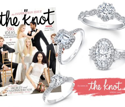 Designer engagement rings featured in The Knot Spring 2017 issue
