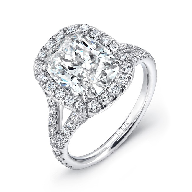 Uneek Elongated Cushion Cut Diamond Halo Engagement Ring with Split Upper Sha