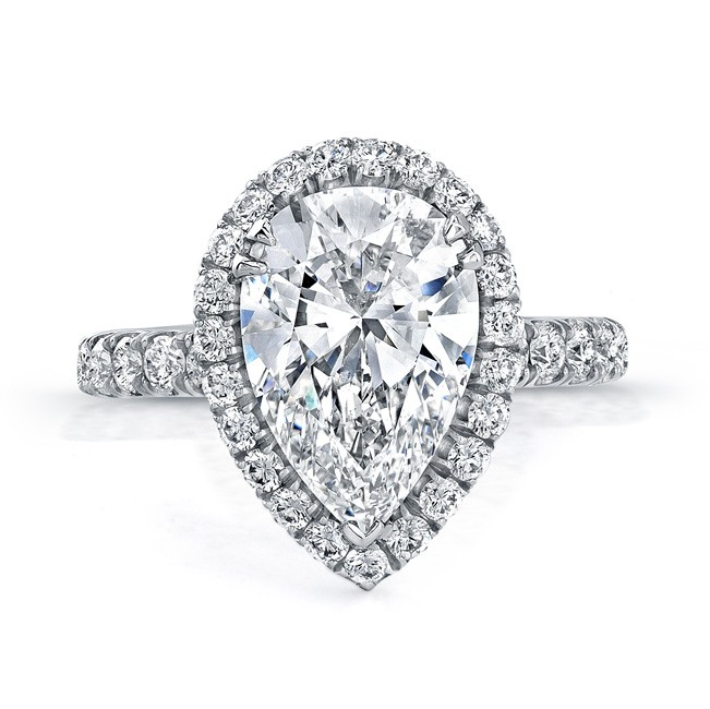 Uneek 4 Carat Pear Shaped Diamond Halo Engagement Ring Platinum Diamond Ring