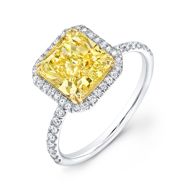 Yellow Diamond Halo Engagement Ring In Platinum And 18K Yellow Gold
