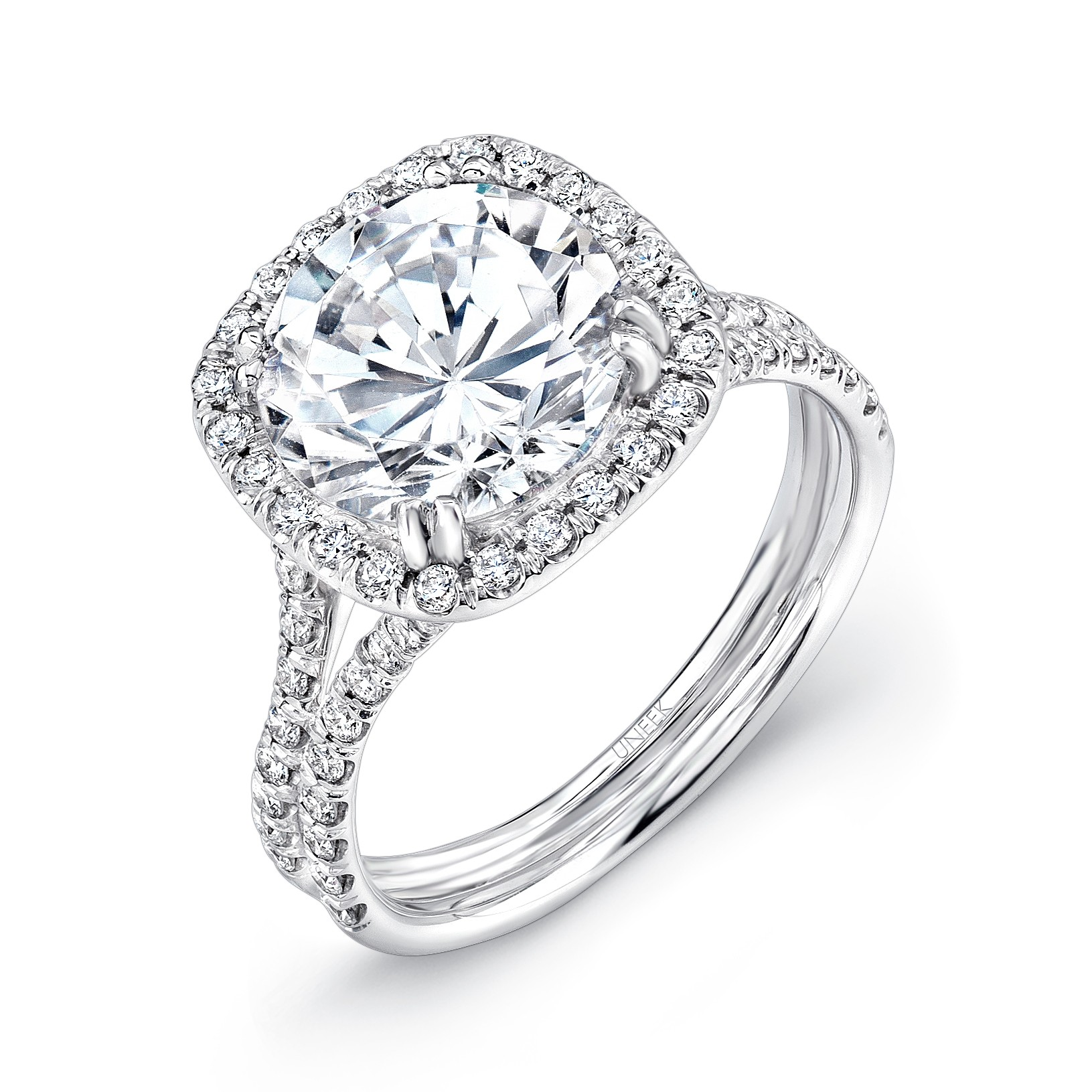 uneek 3 carat engagement ring with cushion