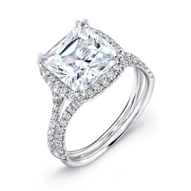 Uneek 3 Carat Cushion Cut Diamond Halo Engagement Ring with Pave Double Shank