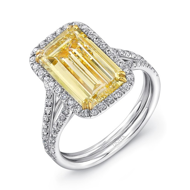 Natureal Collection Platinum and 18K Yellow Gold Emerald-Cut Fancy Yellow Diamond Engagement Ring LVS868