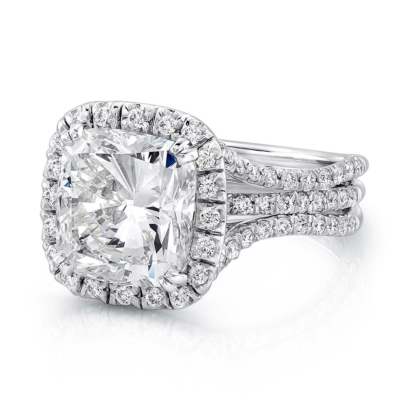 Uneek 4 Carat Cushion Cut Diamond Halo Engagement Ring with Pave Triple Shank
