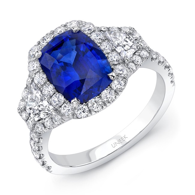 Uneek Cushion Sapphire Three Stone Platinum Engagement Ring