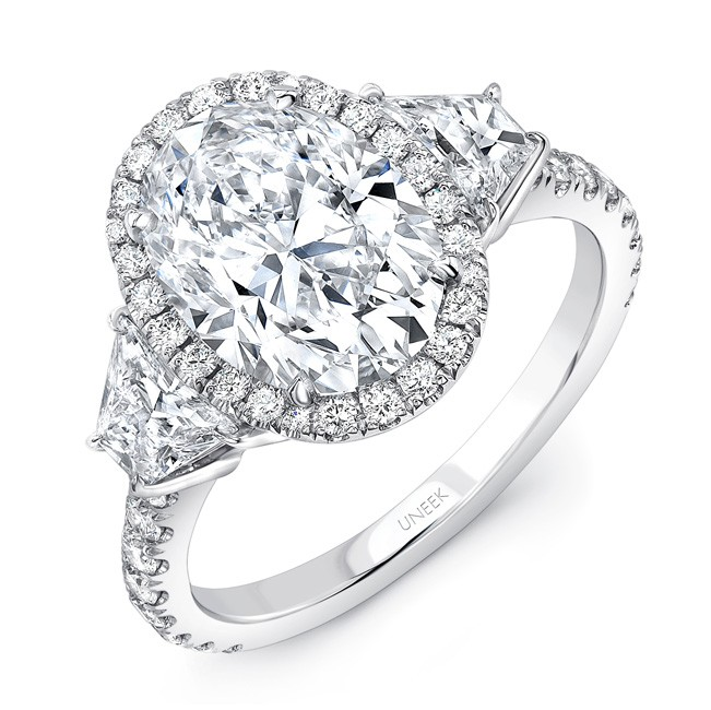 uneek three stone engagement ring with 3 carat oval center. Black Bedroom Furniture Sets. Home Design Ideas