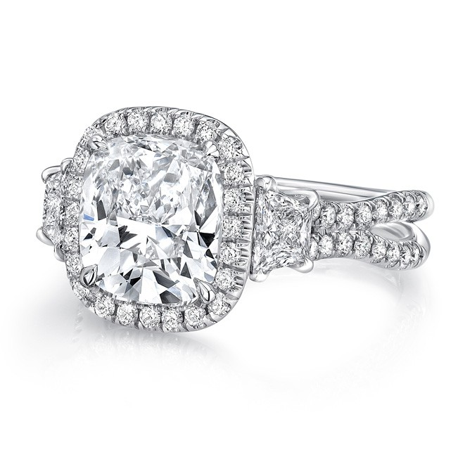 Uneek Three Stone Engagement Ring with 3 Carat Cushion Cut Center on Halo and