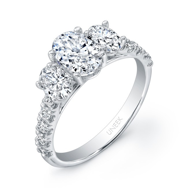 Uneek Oval Diamond Three Stone Engagement Ring 14K White Gold