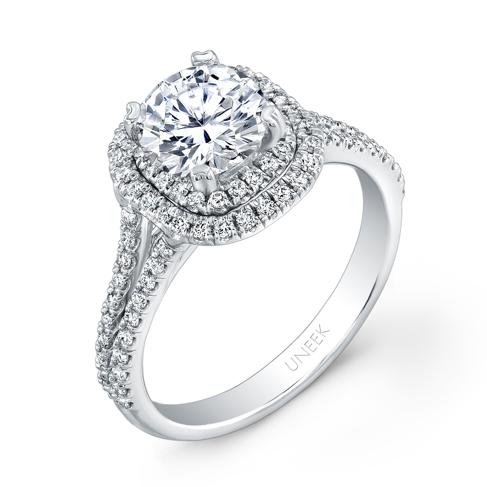 Uneek Round Diamond Engagement Ring with Dreamy Cushion Shaped Double Halo an