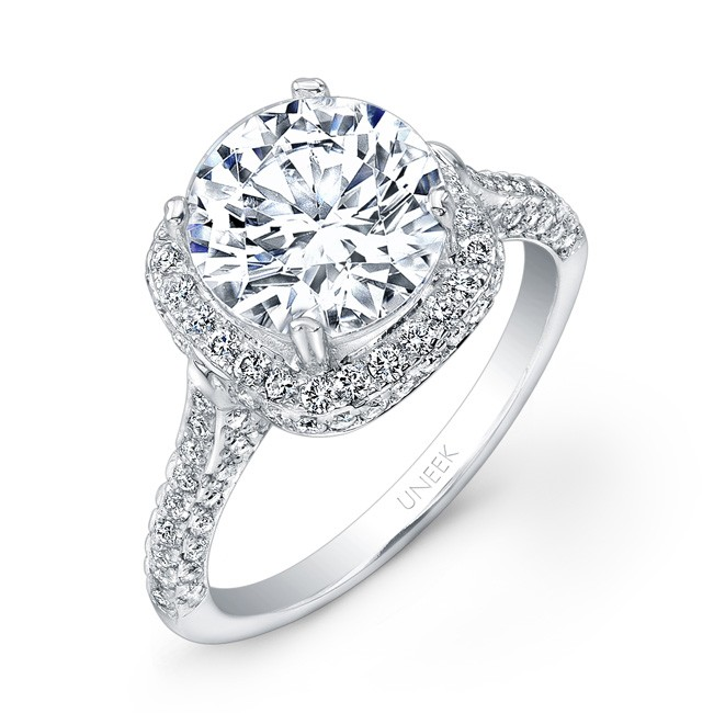 Uneek Round Diamond Engagement Ring with Cushion Shaped Two Sided Pave Halo a