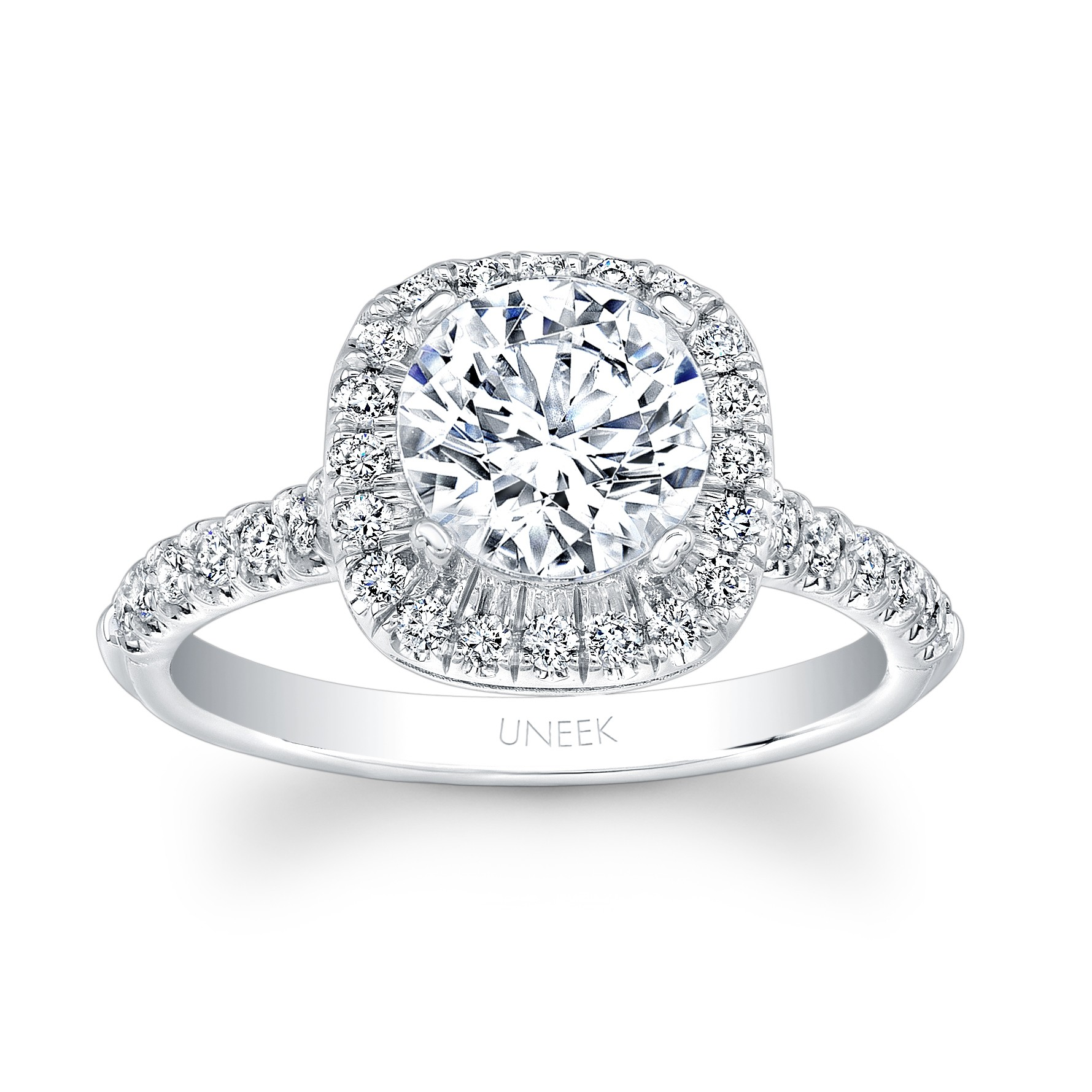Classic Round Diamond on Cushion Halo Engagement Ring with U Pave Upper Shank