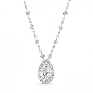 Uneek Pear-Shaped Diamond Halo Pendant with Diamonds-by-the-Yard Chain