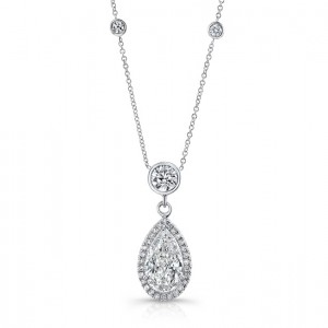 Pear-Shaped Diamond Halo Pendant Necklace with Round Diamond Accents