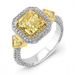 Natureal Collection Platinum and 18K Yellow Gold Radiant-Cut Fancy Yellow Diamond Engagement Ring LVS515