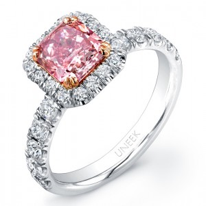 Uneek Natureal Pink Radiant Cut Diamond Engagement Ring LVS809