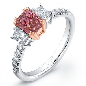 Uneek Natureal Fancy Pink Radiant Cut Diamond Engagement Ring LVS810