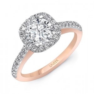 """""""Fontana"""" Vintage-Inspired Round-Diamond-on-Cushion-Halo Engagement Ring from Uneek"""