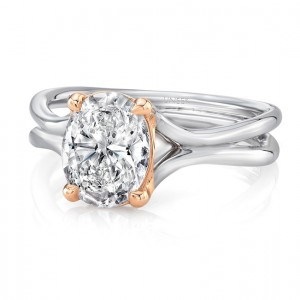 "Oval Diamond Solitaire Engagement Ring with High Polish White Gold ""Silhouette"" Shank and Rose Gold Accents from Uneek"