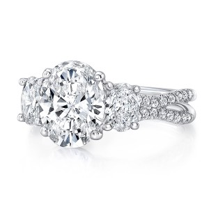 "Oval Diamond Three-Stone Engagement Ring with Pave ""Silhouette"" Double Shank from Uneek"