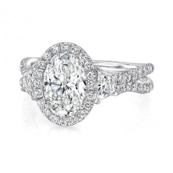 Oval-Center Three-Stone Engagement Ring with Pave Double Shank from Uneek