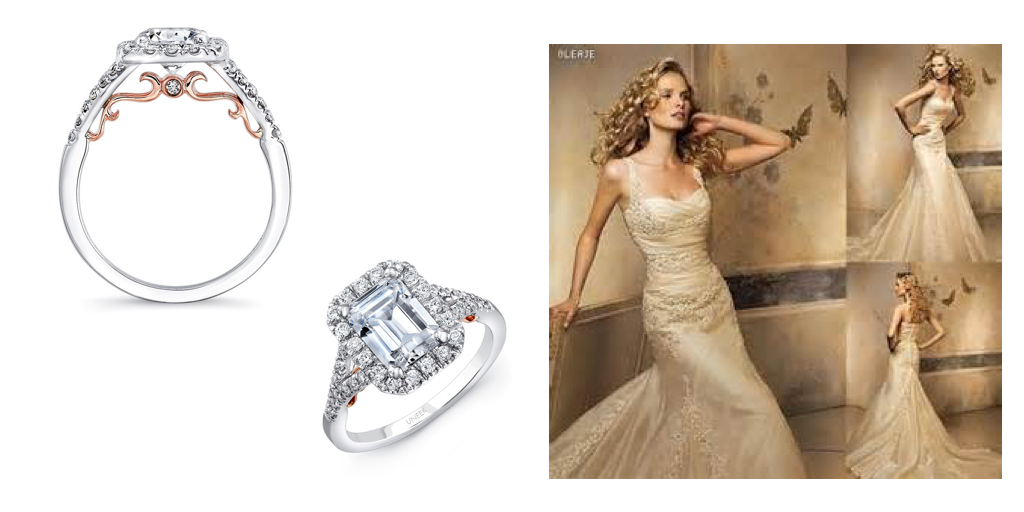 Tickled Pink Rose Gold Bridal Dresses and TwoTone Rings