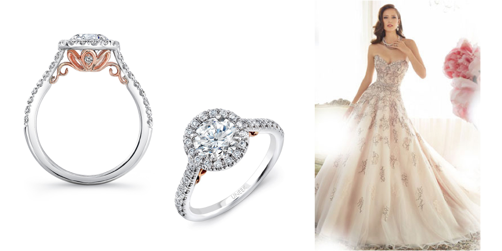 """6c2b902546ed1 This striking rose gold wedding dress creates a feminine and luxurious look  that pairs beautifully with the """"Fiorire"""" engagement ring. The silver  colored ..."""