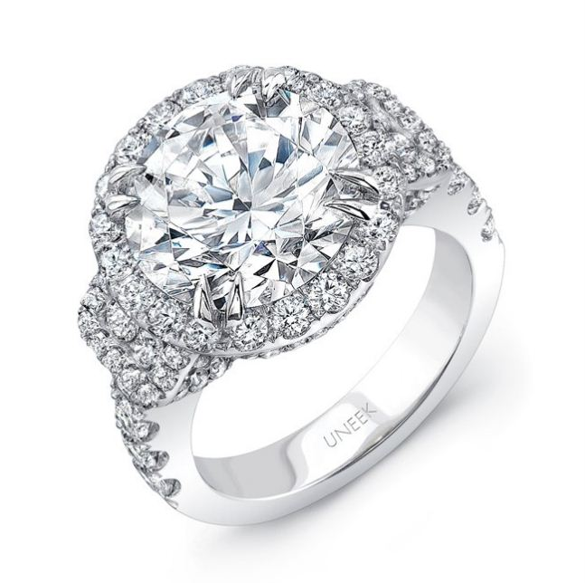 Uneek Round Diamond Halo Engagement Ring With Pave Gallery And Baguette Shaped Side Stone Cers Stunning Rings
