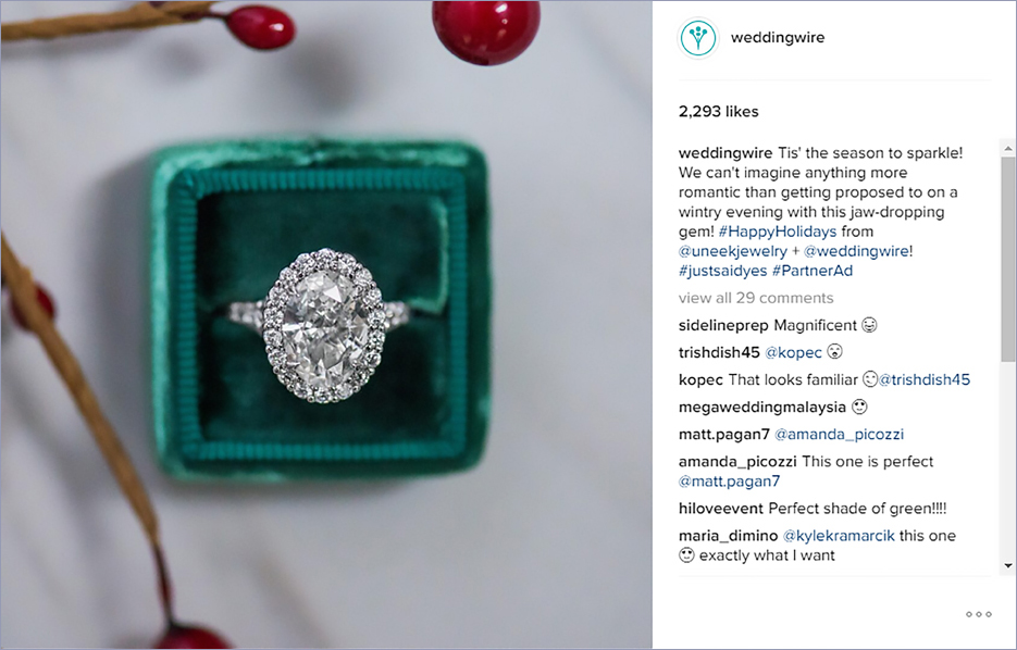 Uneek Jewelry Featured on WeddingWire's Instagram Account