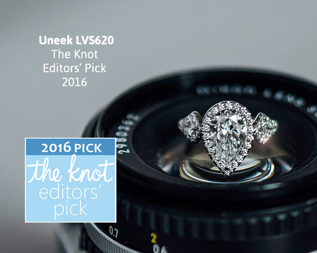 Uneek Three-Stone Ring with Pear-Shaped Diamond Center and Kite-Shaped Sidestones, in Platinum LVS620PS