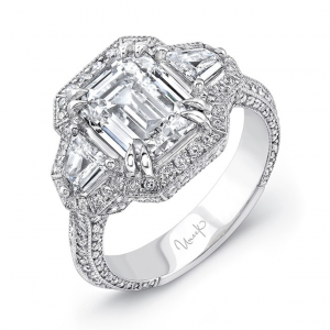 Art Deco inspired three stone ring with halo