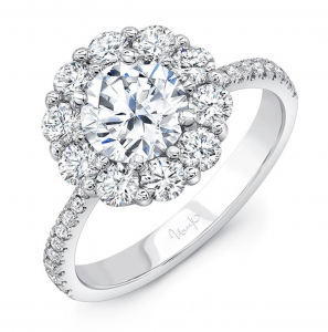 Floral halo engagement ring with pave diamond band