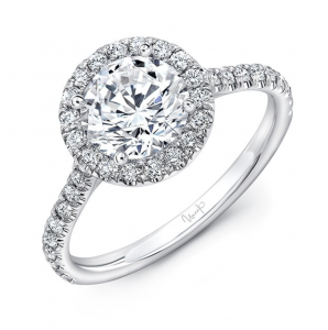Round halo engagement ring with pave band