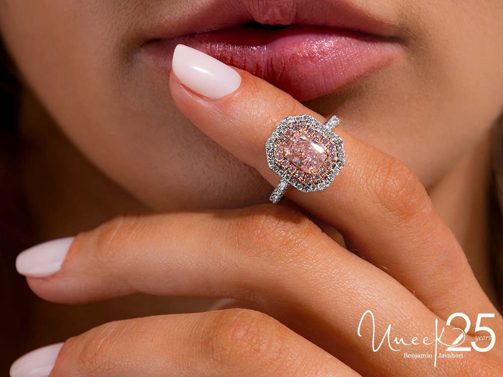 R044U - Pink isn't just a color, it's an attitude in this romantic double halo design.