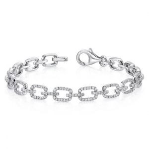 white gold chain link bracelet with diamonds