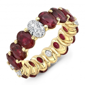 Oval Diamond and Ruby Eternity Band