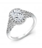 Uneek Cancelli Oval Diamond Halo Engagement Ring With Pave Split Shank And Under The Head Filigree