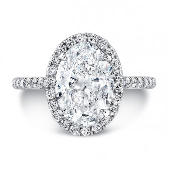 Classic Oval Diamond Halo Pave Engagement Ring (photo shows large center)