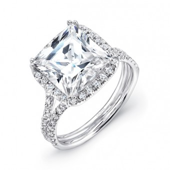 "3-Carat Princess-Cut Diamond Halo Engagement Ring with ""Silhouette"" Double Shank from Uneek"