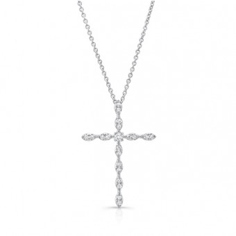 Uneek Skinny Diamond Cross Pendant, 14K White Gold