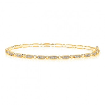 """Uneek """"Rodeo"""" Stackable Diamond Bangle, Yellow Gold version"""