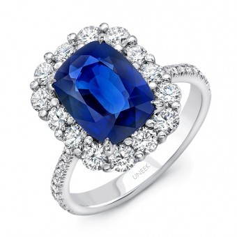 Uneek Cushion-Cut Blue Sapphire Ring with Scallop-Style Shared-Prong Diamond Halo