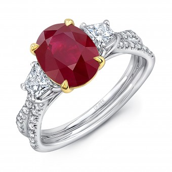 """Uneek Ruby-and-Diamond Three-Stone Ring with Oval Ruby Center and Pave """"Silhouette"""" Double Shank"""