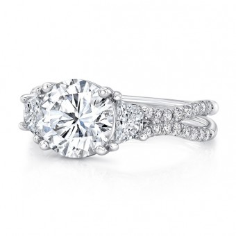 """Uneek Round-Center Classic Three-Stone Engagement Ring with Pave """"Silhouette"""" Double Shank"""