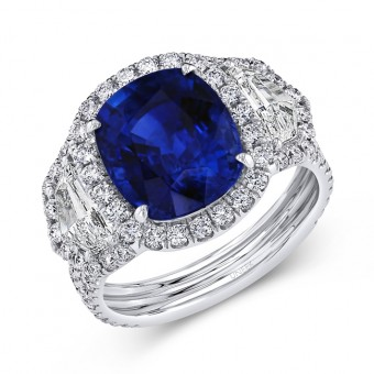 Uneek Cushion-Cut Blue Sapphire Ring with Epaulet Diamond Sidestones and Double-Row Pavé Shank, White Gold