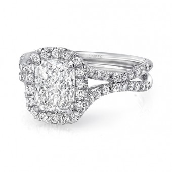 """Uneek Elongated Cushion Cut Diamond Halo Engagement Ring with Pave """"Silhouette"""" Double Shank, in 14K White Gold"""