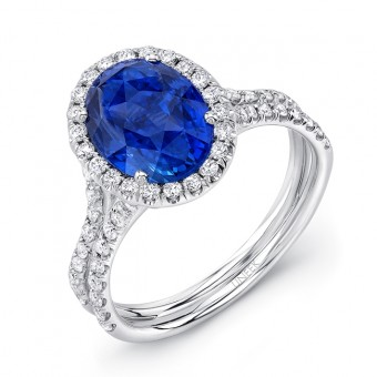 """Uneek Oval Blue Sapphire Engagement Ring with Diamond Halo and """"Silhouette"""" Double Shank"""