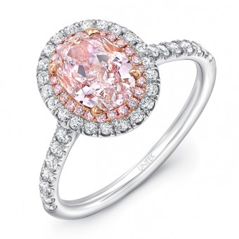 Uneek LVS943OV Oval Pink Diamond Engagement Ring
