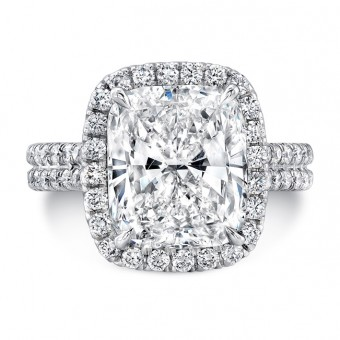 Uneek LVS963 Cushion-Cut Diamond Halo Engagement Ring with Pave Double Shank
