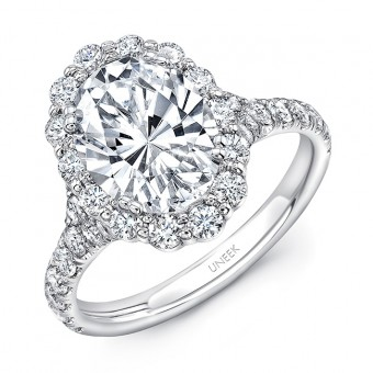 Uneek Oval Diamond Engagement Ring with Shared-Prong Round Diamond Halo and Pavé Shank, 14K White Gold