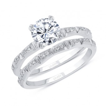 Uneek Round Diamond Bridal Set with Baguette-Illusion Round Diamond Cluster Accents, 14K White Gold